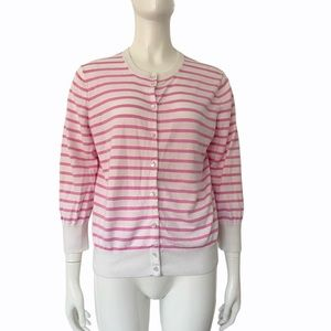 J. Crew Pink White Button Cardigan Pearl Buttons